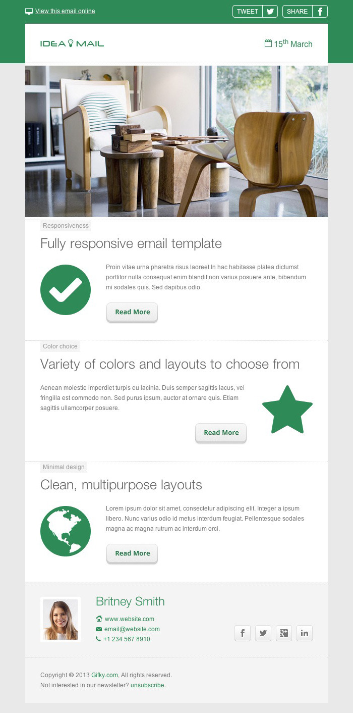 Idea mail minimal responsive email template by gifky for How to make a responsive email template
