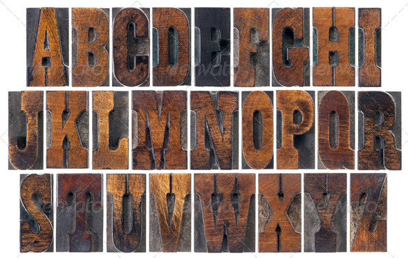 antique wood type alphabet - Stock Photo - Images