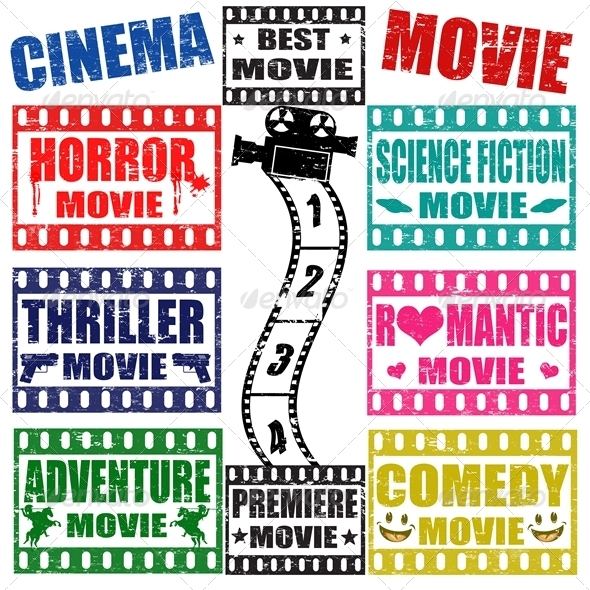 GraphicRiver Set of Movie Genres Stamps 4306727