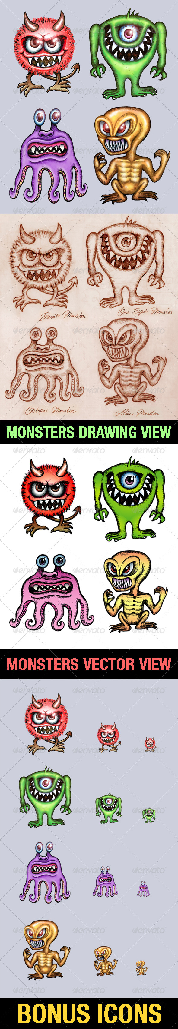 GraphicRiver 4 Monsters Illustration 4205393