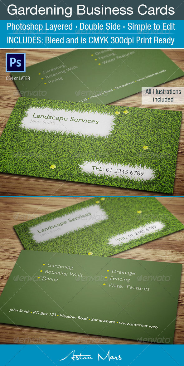 GraphicRiver Gardening Business Card 4102974