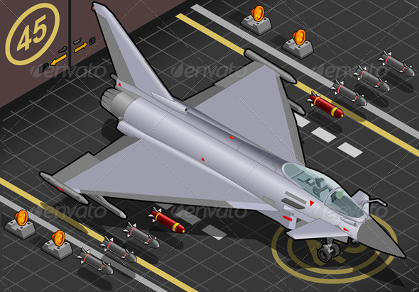Isometric Eurofighter in Front View