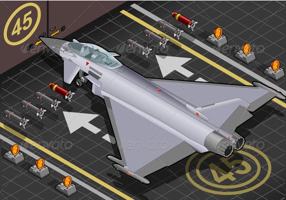 GraphicRiver Isometric Eurofighter in Rear View 4307049