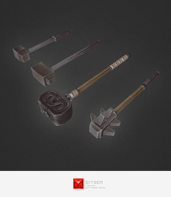 3DOcean Low Poly Weapon Set 04 4307144