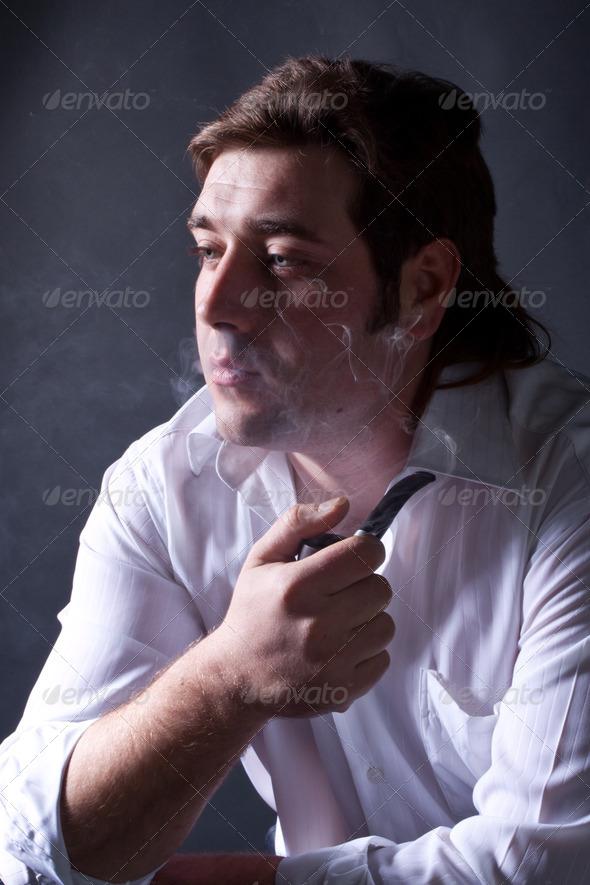 PhotoDune man smoking a pipe 4307251