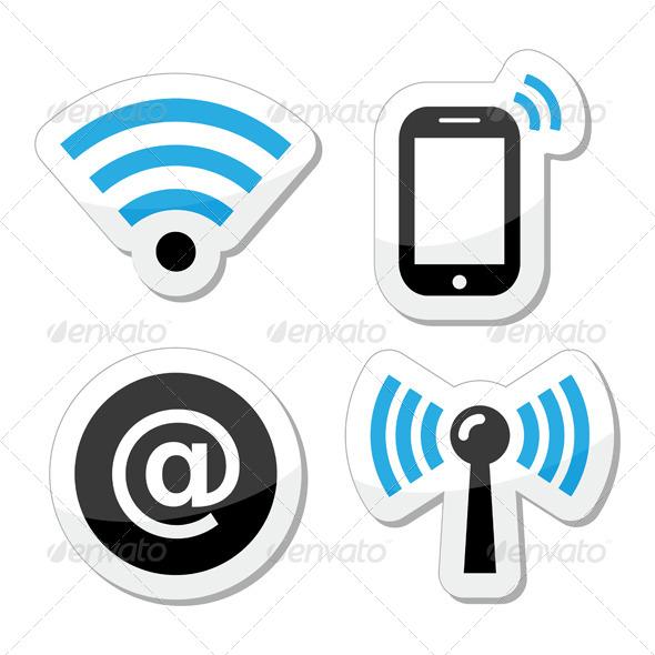 Wifi Network Internet Zone Icons Set