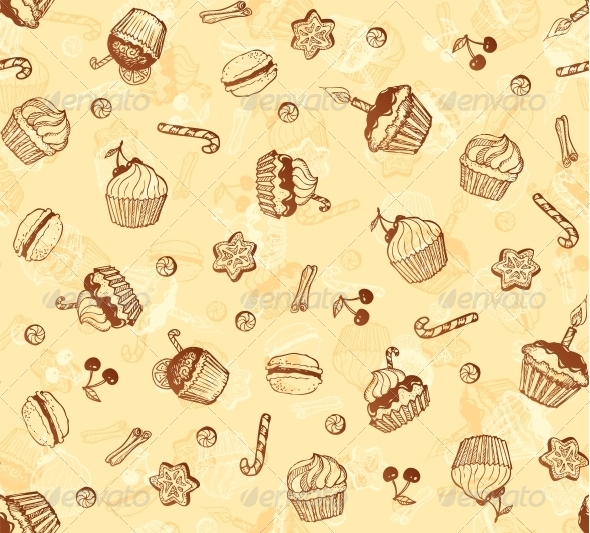 GraphicRiver Hand-Drawing Seamless Cupcake Pattern 4307468