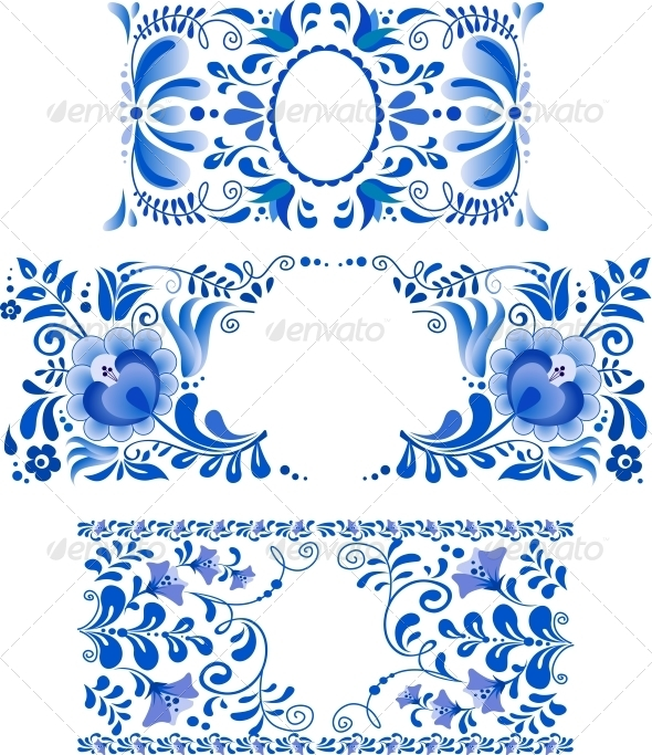 GraphicRiver Russian Ornaments Art Frames in Gzhel Style 4307545