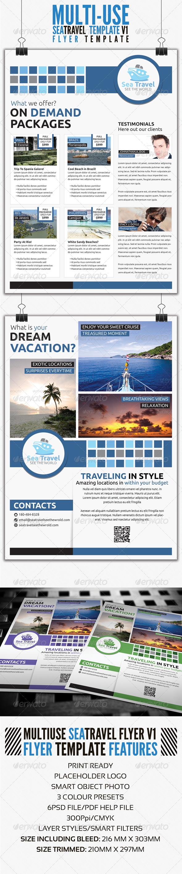 Sea Travel A4 Flyer Template V1 - Commerce Flyers