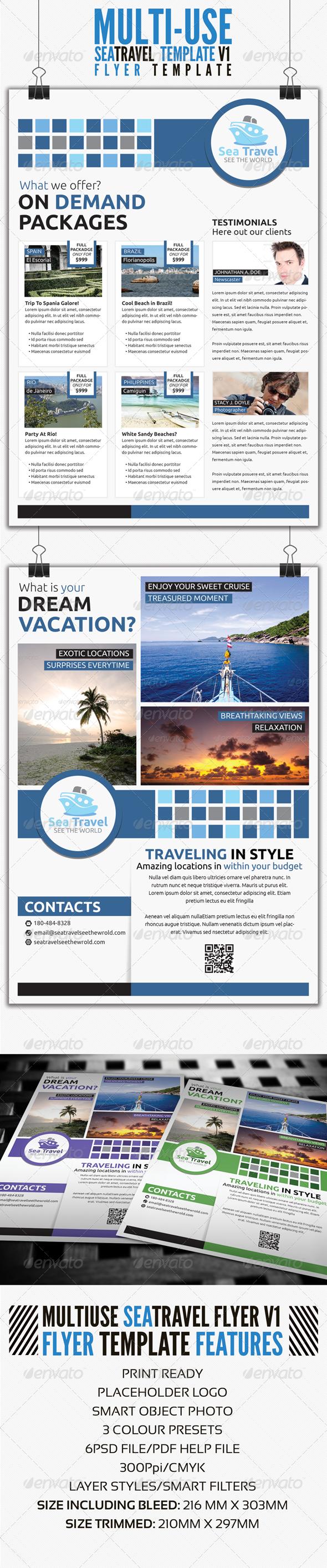 GraphicRiver Sea Travel A4 Flyer Template V1 4307611