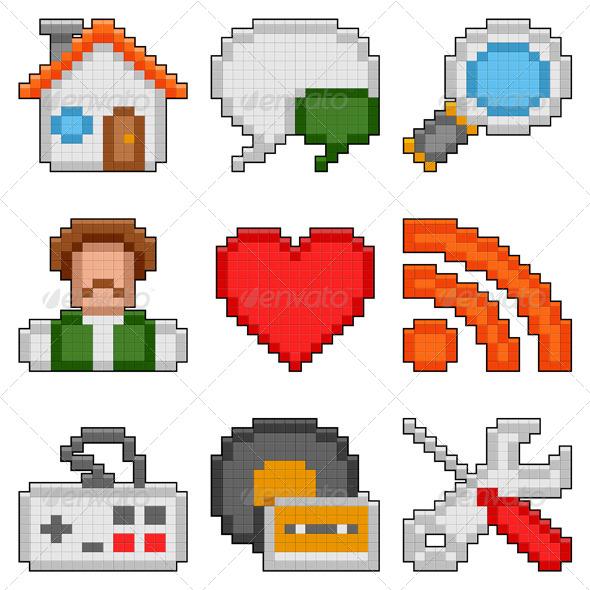 GraphicRiver Pixel Web Icons 4307709