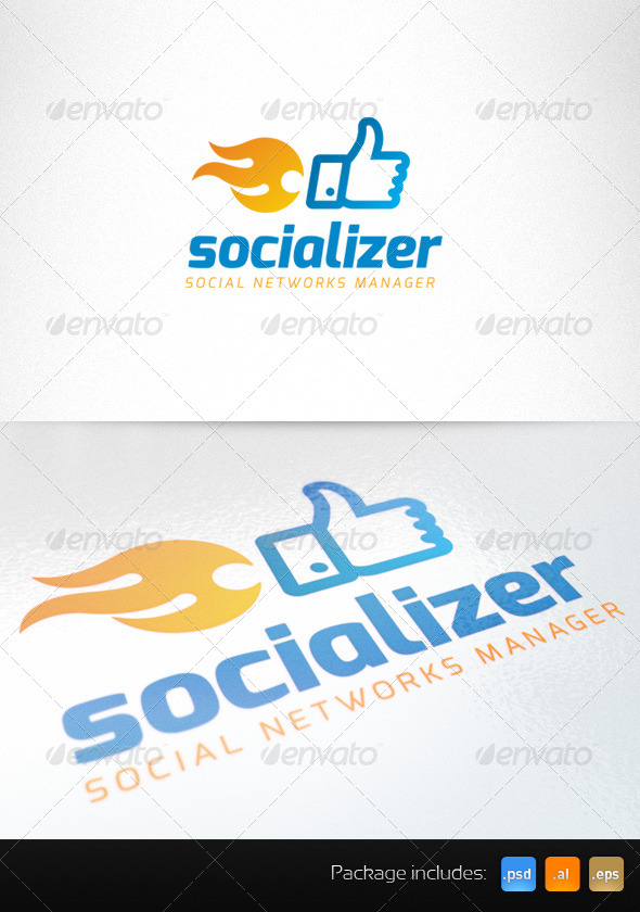 GraphicRiver Social Media Thumb Up Fire Creative Logo 4308337