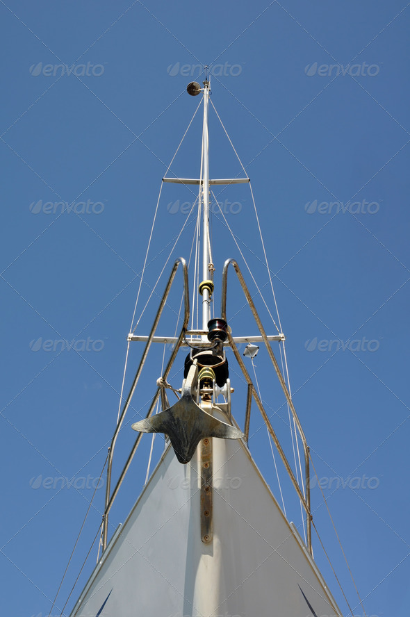 Prow of a sailing boat - Stock Photo - Images