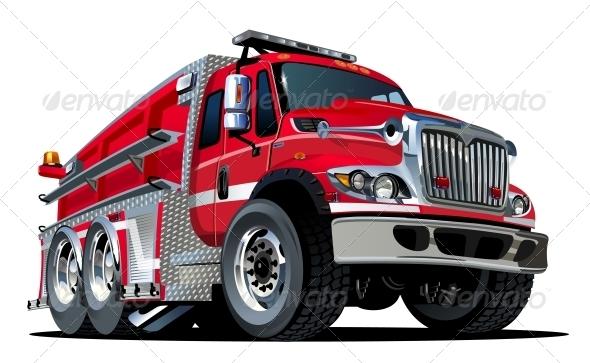 GraphicRiver Vector Cartoon Fire Truck 4308955