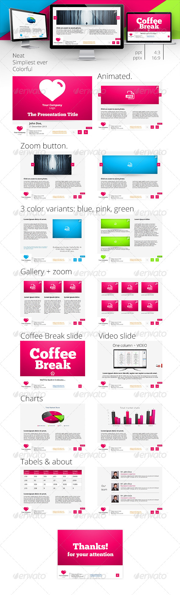 GraphicRiver Colorful and Neat Powerpoint Template 4308995
