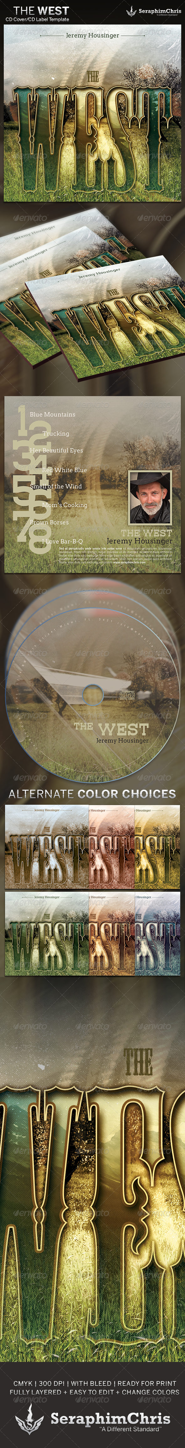 The West: CD Cover Artwork Template - CD & DVD Artwork Print Templates