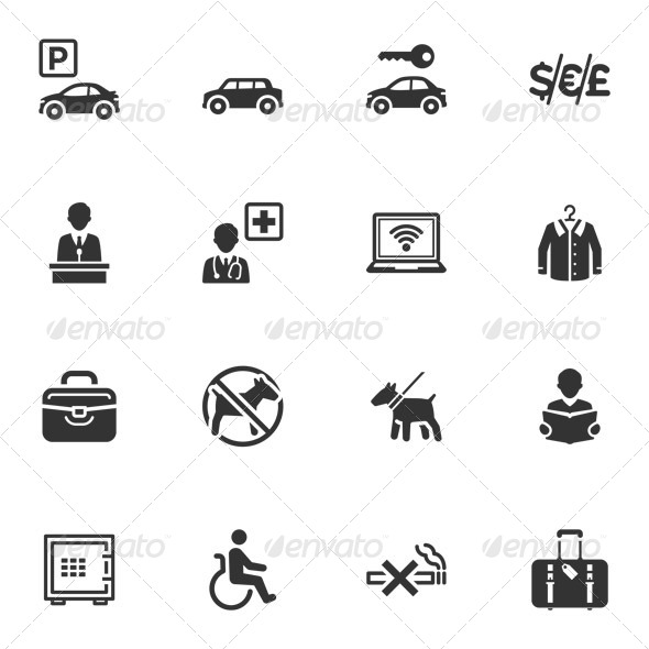 GraphicRiver Hotel Services and Facilities Icons Set 1 4309874