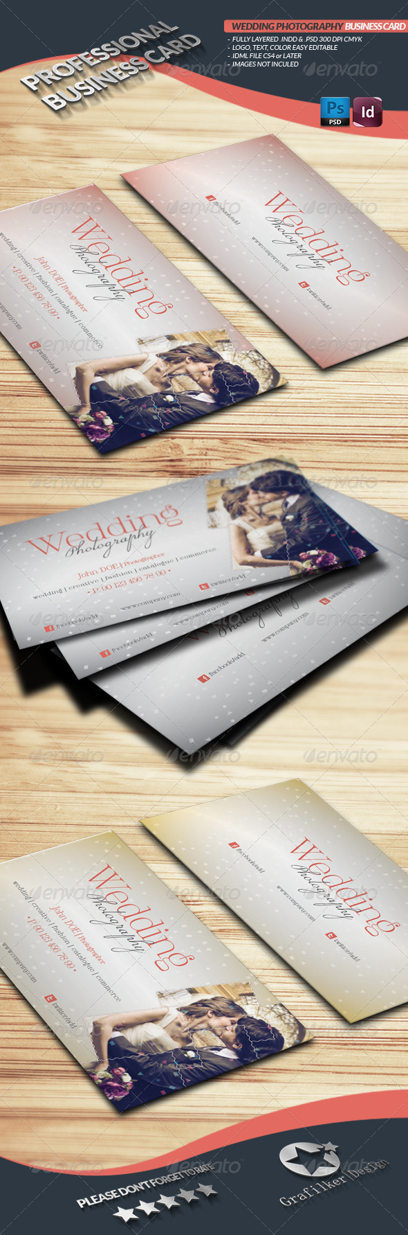 GraphicRiver Wedding Photography Business Card Template 4310294
