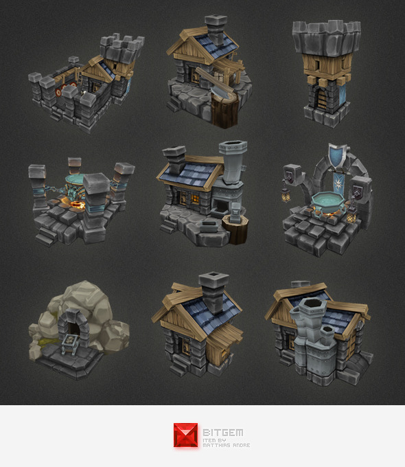 3DOcean Low Poly RTS Human Building Set 4310365