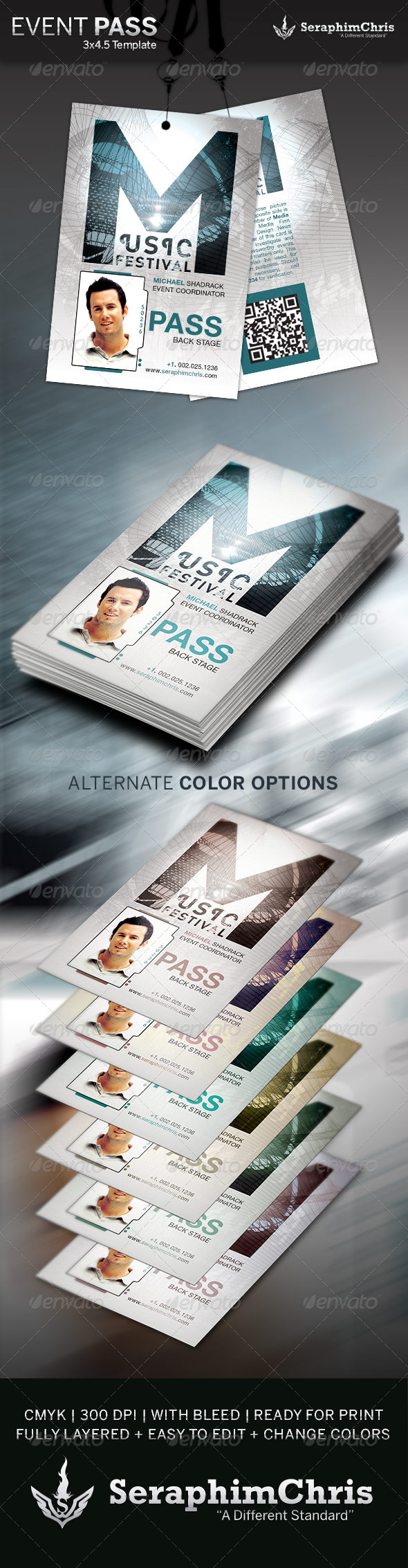 music event pass template graphicriver. Black Bedroom Furniture Sets. Home Design Ideas