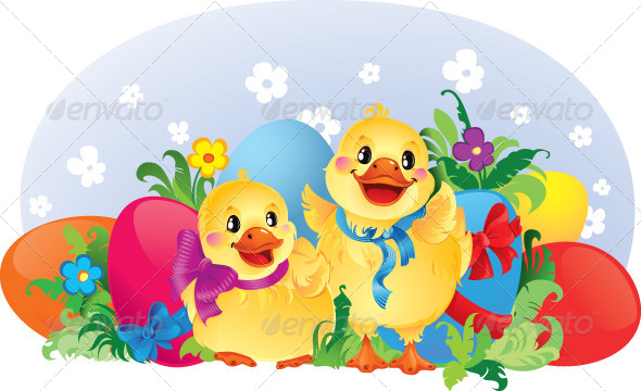 GraphicRiver Easter Illustration with Ducklings 4310765