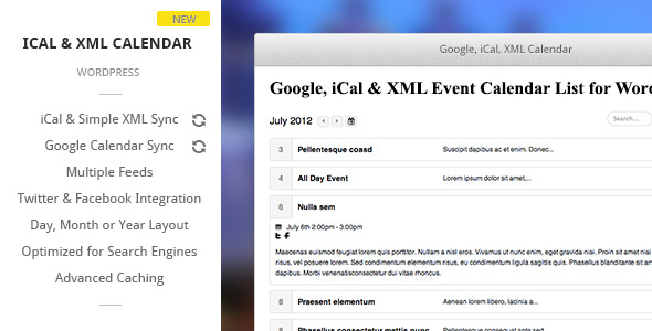 Google, iCal & XML Event Calendar for Wordpress - CodeCanyon Item for Sale
