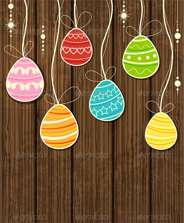 GraphicRiver Wooden Easter Background 4310914