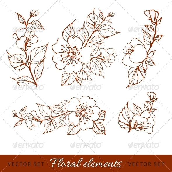 GraphicRiver Abstract Flower Set 4311790