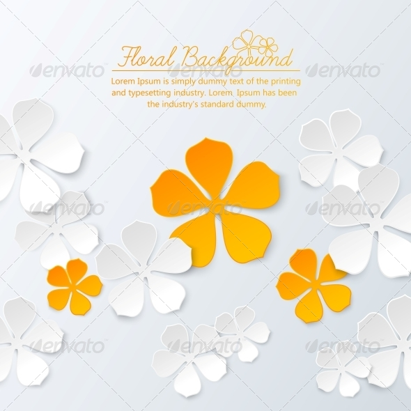 GraphicRiver Paper Floral Background with Place for Text 4311795