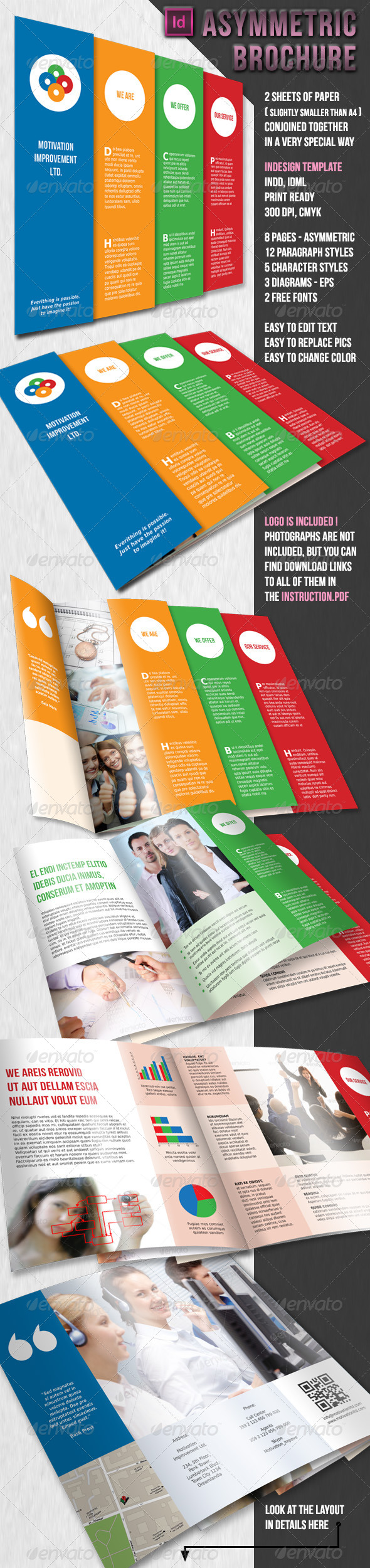 GraphicRiver Asymmetric Brochure 2 x A4 8 pages 4158402