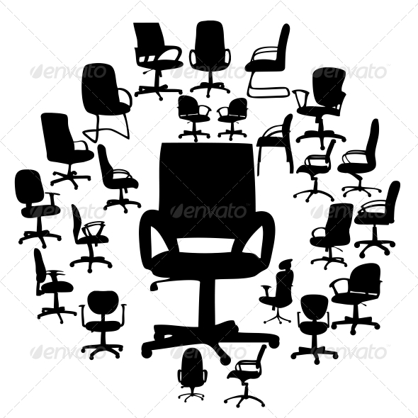 GraphicRiver Office Chairs Silhouettes Vector Illustration 4312373