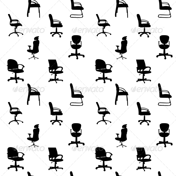 GraphicRiver Seamless Pattern of Office Chairs Silhouettes 4312374