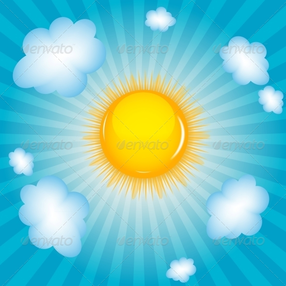 GraphicRiver Sun and Cloud Background Vector Illustration 4312389