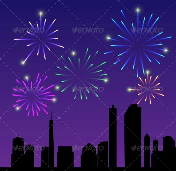 GraphicRiver Fireworks City Vector Illustration 4312565