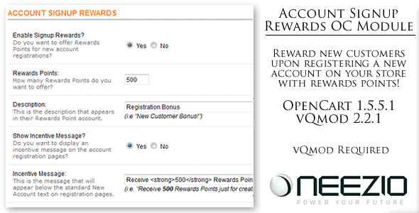 CodeCanyon Account Signup Rewards Module for OpenCart vQmod 4312761