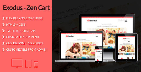 ThemeForest Exodus Clean and Responsive Zen Cart Template 4285227