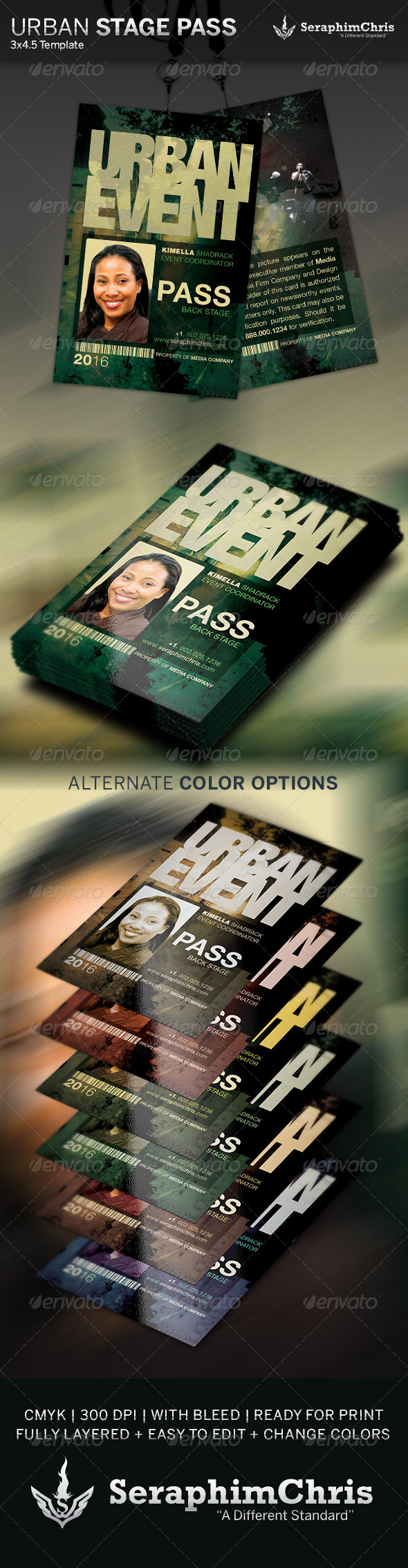 Urban Event Stage Pass Template - Miscellaneous Print Templates