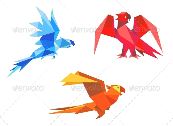 GraphicRiver Origami Parrots 4313391