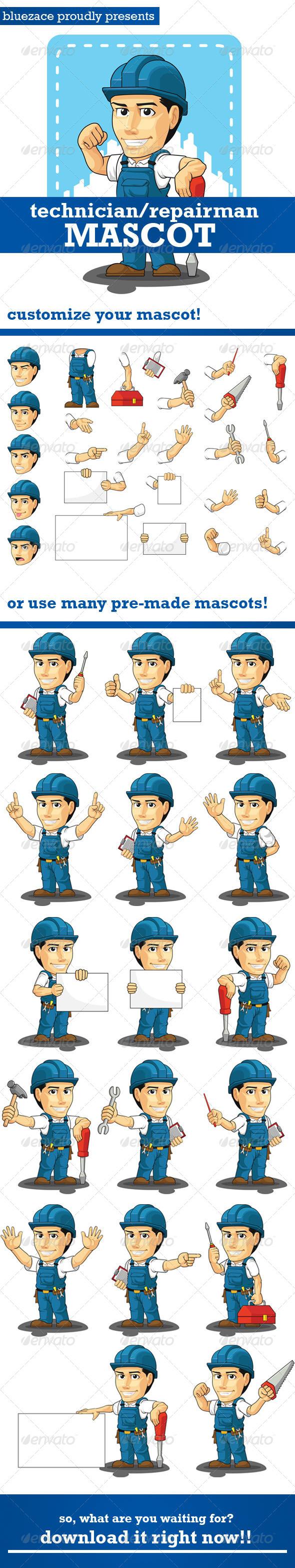 GraphicRiver Technician or Repairman Customizable Mascot 4313452