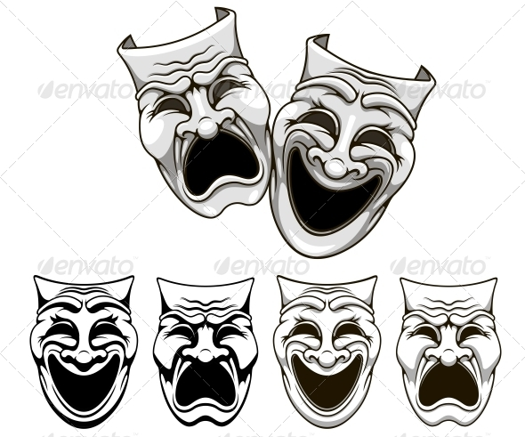 GraphicRiver Tragedy and Comedy Theater Masks 4313903