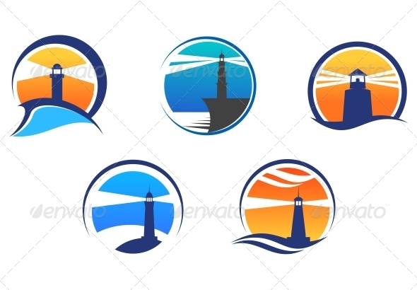 GraphicRiver Colorful Lighthouse Symbols Set 4314019