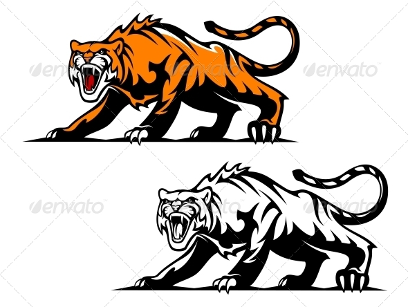 Aggressive Tiger - Animals Characters