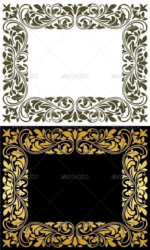 GraphicRiver Floral Frame in Retro Style 4315246