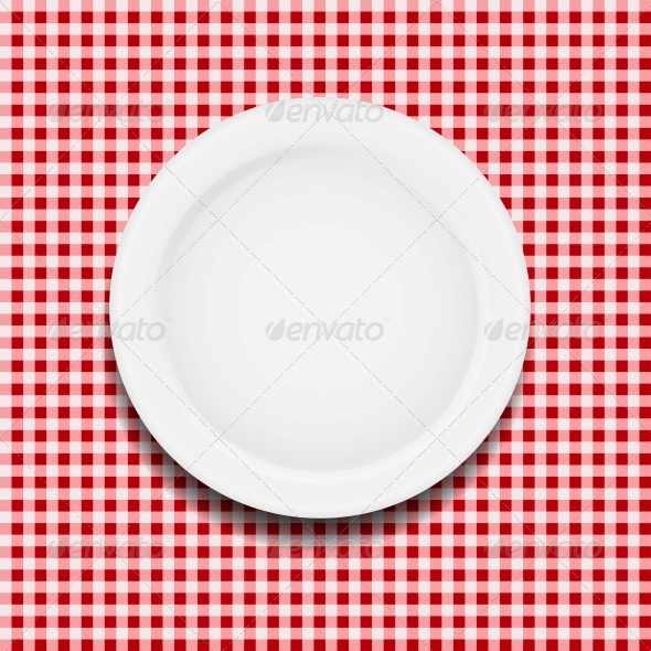 GraphicRiver White Plate on a Checkered Tablecloth 4317284