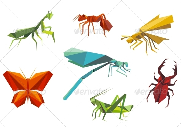 Insects Set in Origami Style - Animals Characters