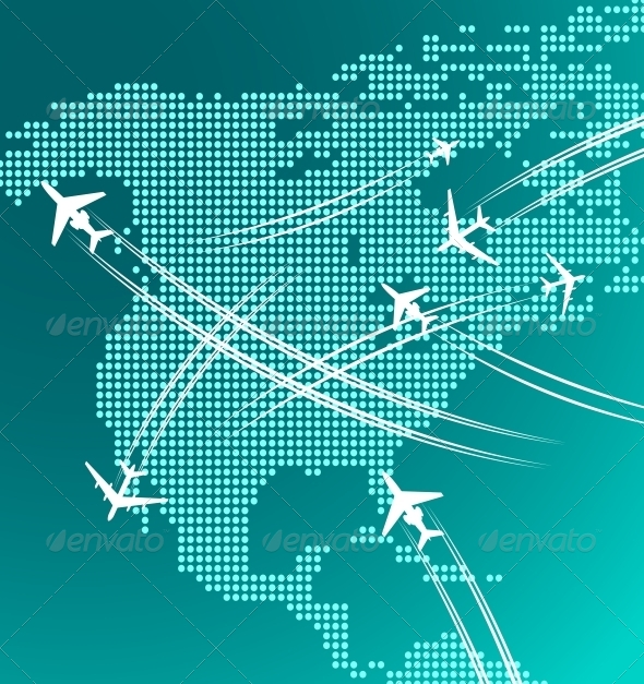 GraphicRiver Map of North America with Airplanes 4317454