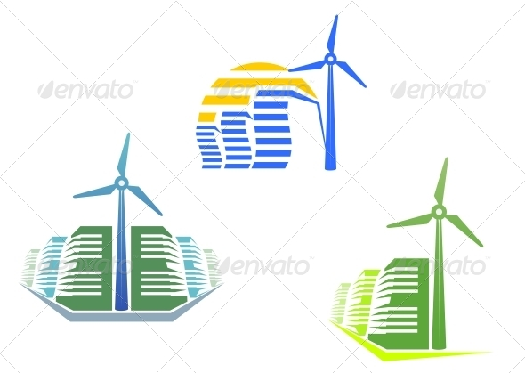GraphicRiver Houses with Wind Turbines 4318074