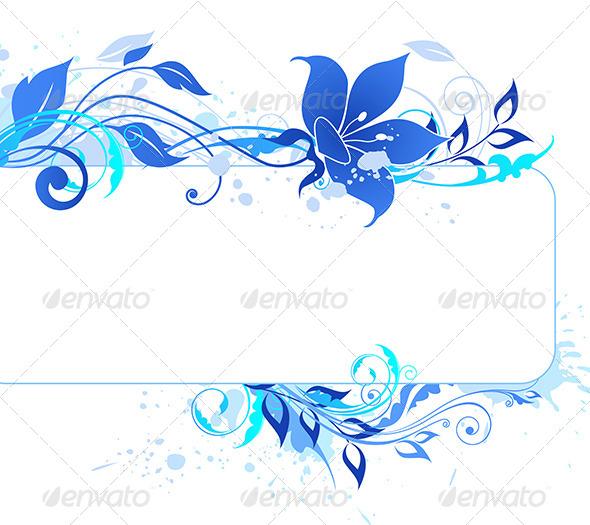 GraphicRiver Blue Floral Banner 4318433