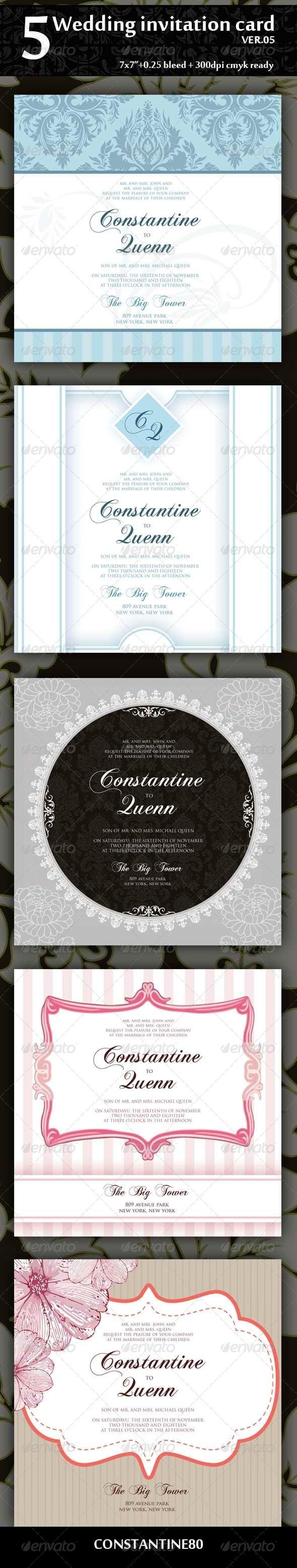 GraphicRiver 5 Wedding Invitation Card Ver05 4318505