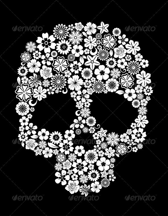 GraphicRiver Human Skull in Floral Style 4318528